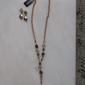 Rose gold look necklace and earrings set